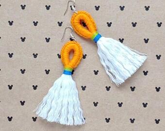 The Goof Magical Loop & Fringe Earrings - Crochet Macrame Disneybound Tassel French Hook