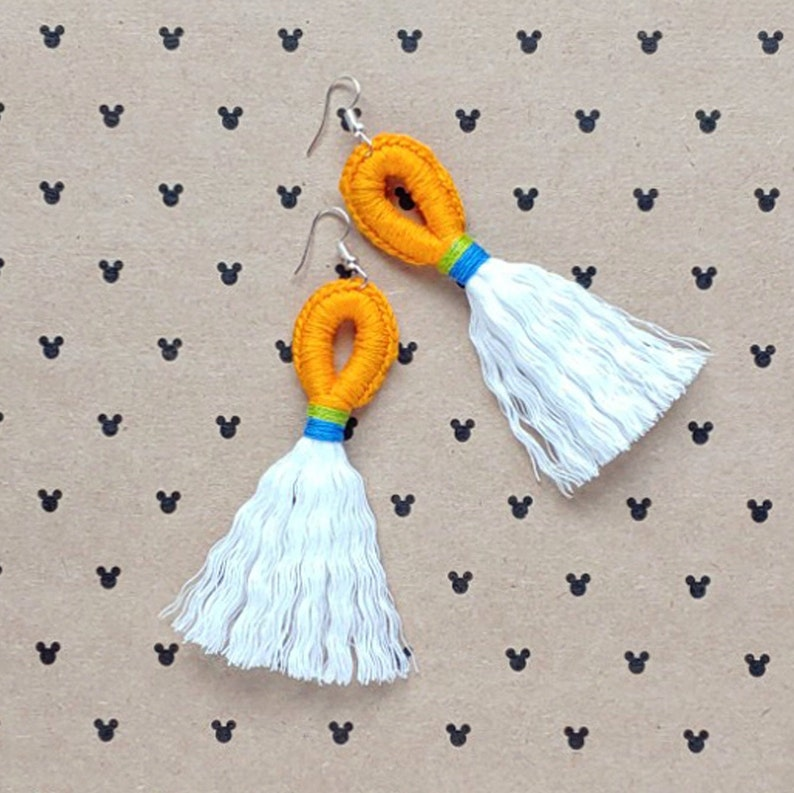 The Goof Magical Loop & Fringe Earrings  Crochet Macrame image 0