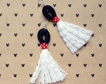 Ms. Mouse Magical Loop & Fringe Earrings - Crochet Macrame Disneybound Tassel French Hook