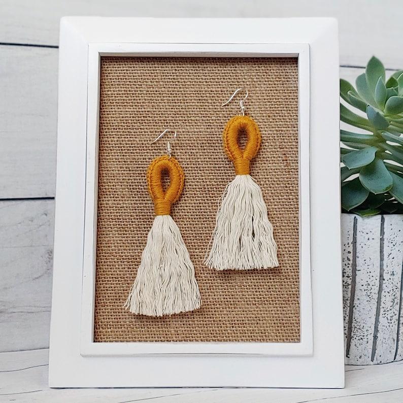 So Cute Mustard and Cream Loop & Fringe Earrings  Crochet image 0