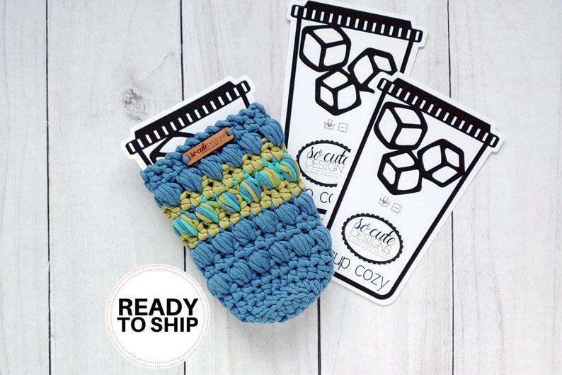 So Cute Morning Hustle Crochet Coffee Travel Cup Bottle Cozy image 0