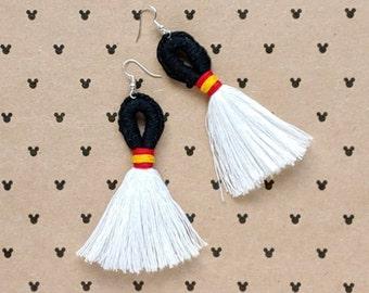 Mr. Mouse Magical Loop & Fringe Earrings - Crochet Macrame Disneybound Tassel French Hook