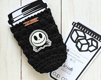 Black Pumpkin King Halloween Coffee Travel Cup Bottle Cozy Sleeve MADE TO ORDER