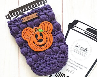 Purple Mr. Mouse Pumpkin Halloween Coffee Travel Cup Bottle Cozy Sleeve MADE TO ORDER