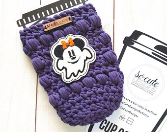 Purple Ms. Mouse Ghost Halloween Coffee Travel Cup Bottle Cozy Sleeve MADE TO ORDER