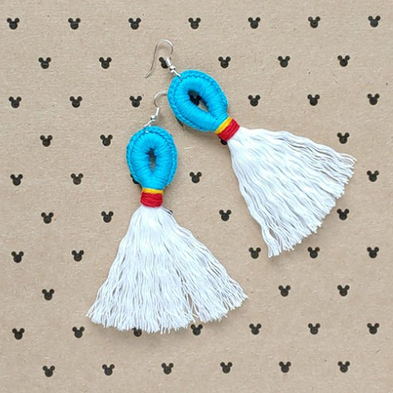Mr. Duck Magical Loop & Fringe Earrings  Crochet Macrame image 0