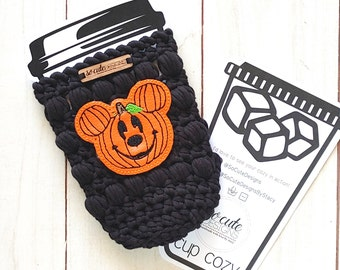 Black Mr. Mouse Pumpkin Halloween Coffee Travel Cup Bottle Cozy Sleeve MADE TO ORDER