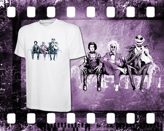 Original Art Inspired by Tim Burton - Edward Scissorhands, Beetlejuice and Jack Skellington - Mens Ladies White T-Shirt Long Sleeve & Hoodie