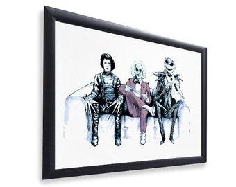 Original Art Inspired by Tim Burton Characters - Beetlejuice, Edward Scissorhands & Jack Skellington - Gloss Print