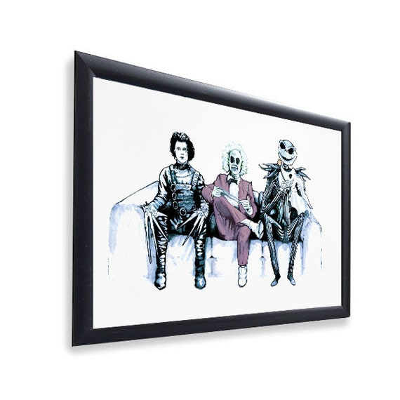 Original Art Inspired by Tim Burton Characters , Beetlejuice, Edward  Scissorhands \u0026 Jack Skellington , Gloss Print