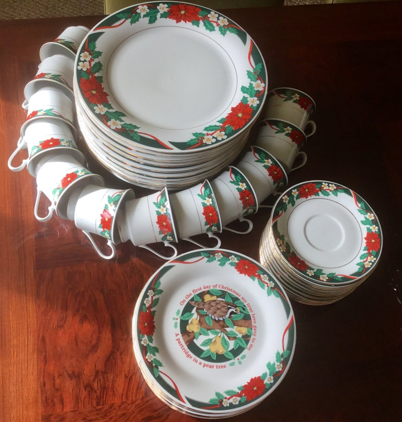 "Christmas Poinsettia Dinnerware, 12 Days of Christmas, Tienshan ""Deck the  Halls"""
