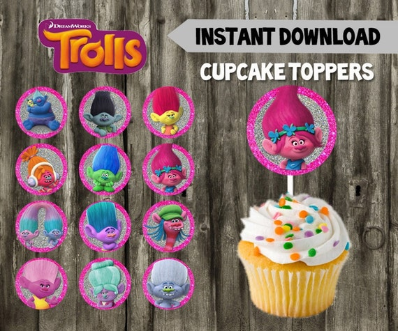 Trolls Cupcake Toppers Birthday Party DIY