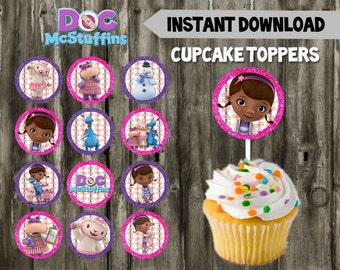 Doc McStuffins Cupcake Toppers // DIY // 12 Doc McStuffins Party Cupcake Toppers // Instant Download // Printable // Doc McStuffins Birthday