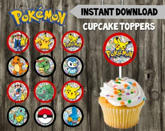 Pokemon Cupcake Toppers // DIY // 12 Pokemon Cupcake Toppers // Instant Download // Printable // Pokemon Birthday // Favor