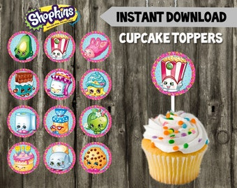 Shopkins Cupcake Toppers // DIY // 12 Shopkins Party Cupcake Toppers // Instant Download // Printable // Shopkins Birthday