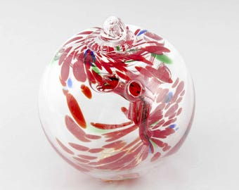 """2 Sisters Clear with Red Speckles 4"""" Tree of Life Enchantment or Witch Ball B849"""