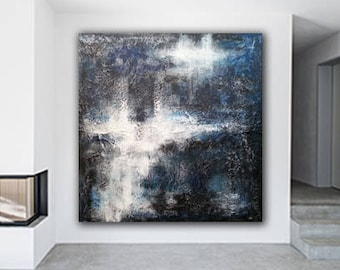 Abstract Art / Minimalist Painting / XL Canvas Art / Blue Black White Painting / Industrial Art / Textured Painting / ExtraLarge Painting
