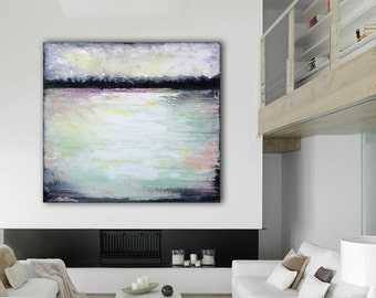 Original Abstract Painting Custom Unstretched Painting Large Canvas Art Abstract Lanscape Seascape Painting Black Gray White Abstract