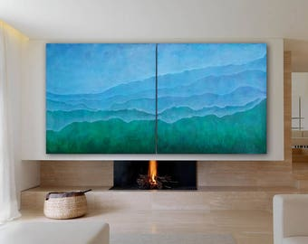ORIGINAL BLUE ABSTRACT Art 72x36(2 panels 36x36) Large Canvas Art Abstract Landscape Blue Painting Minimalist Art Wall Art Acrylic Painting