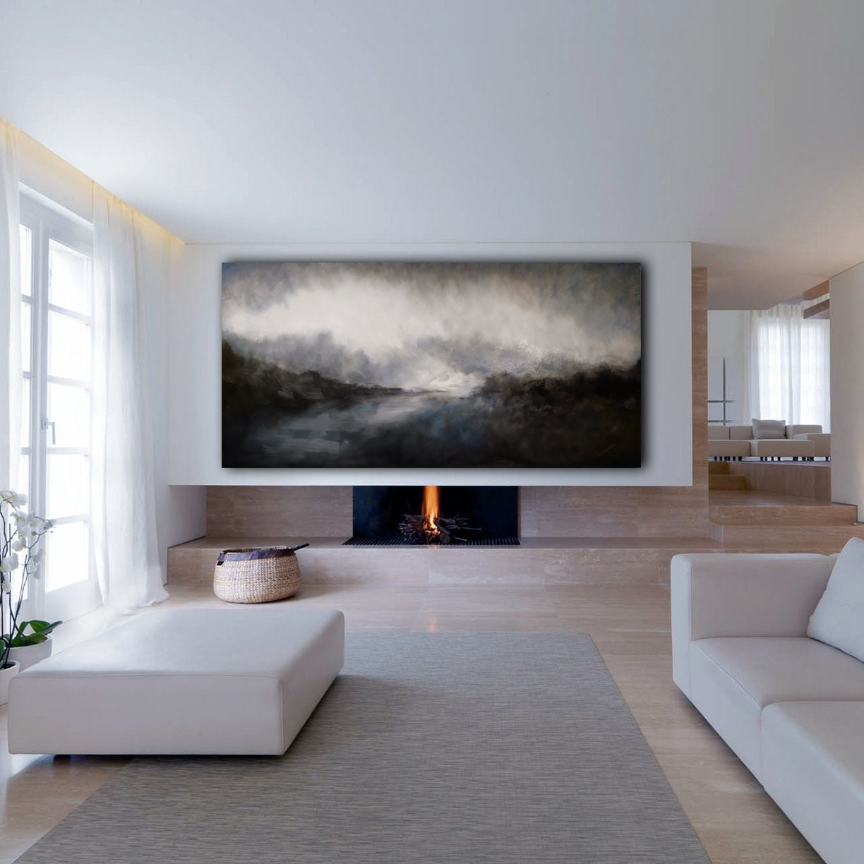 Original Abstract Landscape 72x36 XLarge Canvas Art