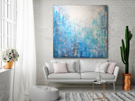 ORIGINAL ABSTRACT PAINTING XLarge Canvas Art Minimalist Painting Turquoise  Blue Abstract Acrylic Painting Modern Art Industrial Textured Art