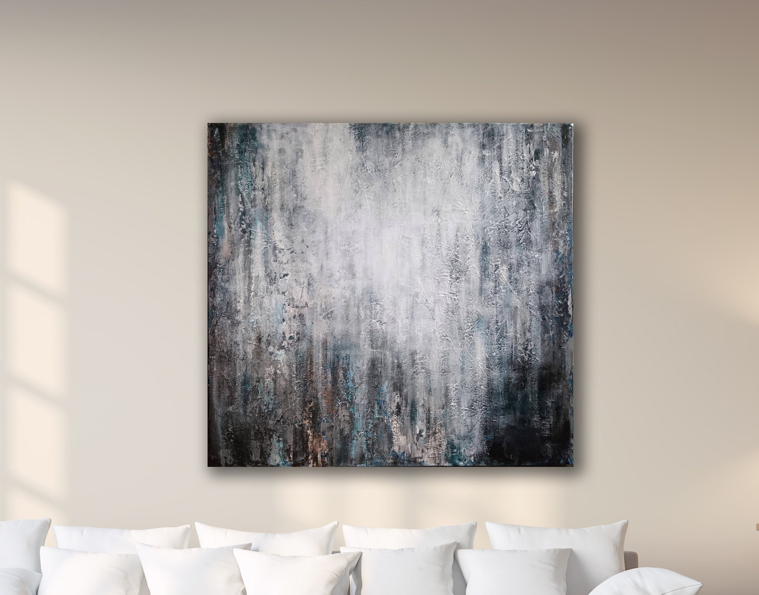 36x36 Gray Textured Abstract Large Canvas Art Minimalist Art