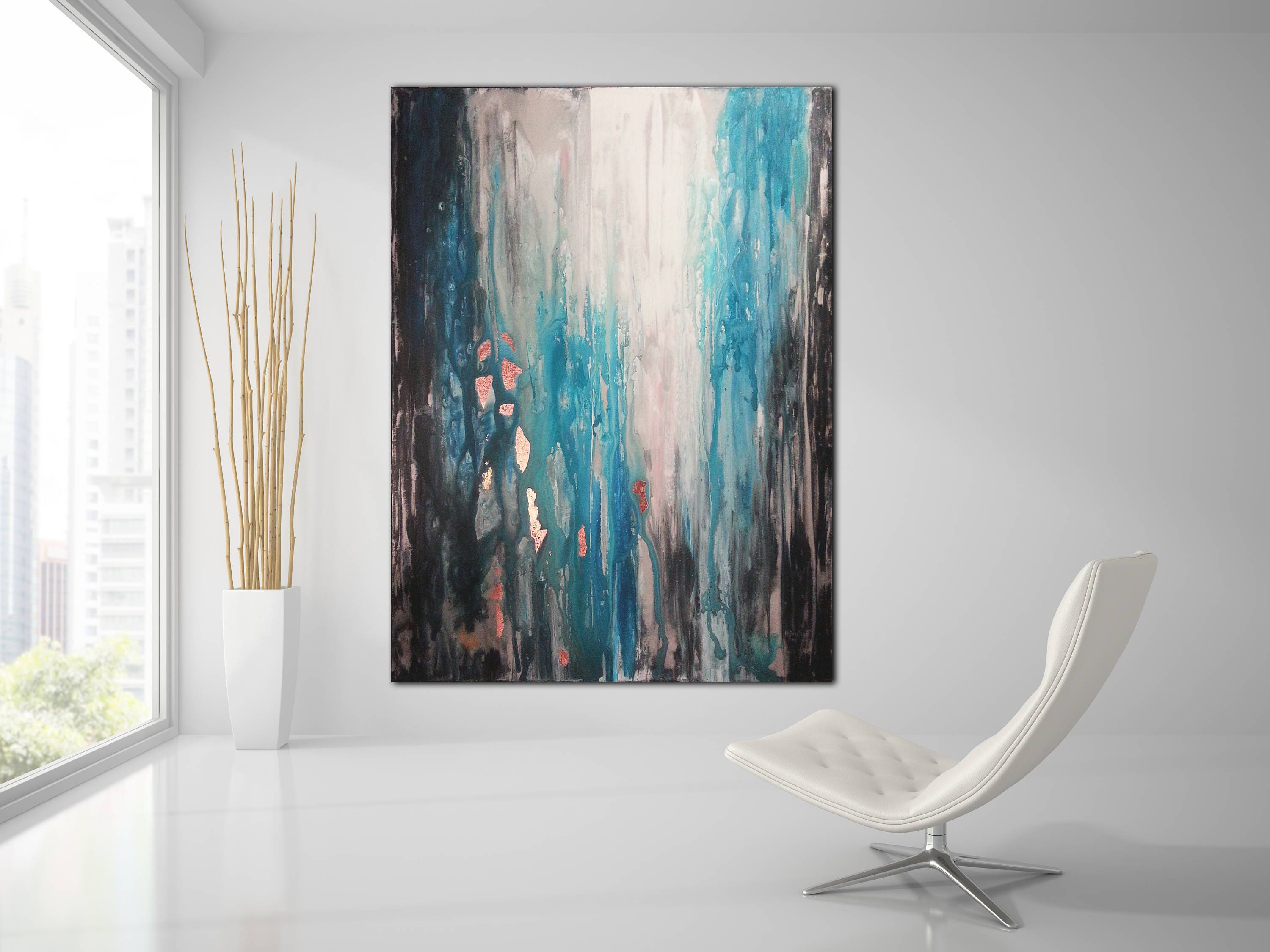 original abstract painting custom un stretched canvas painting teal