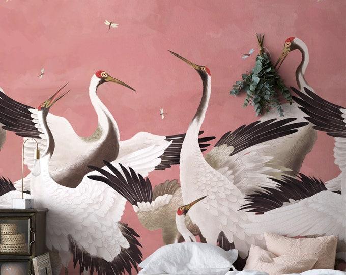 Heron Print Wallpaper, Removable Peel and Stick Mural, Japanese Gucci Chinoiserie Inspired Crane Wallpaper, Temporary Self Adhesive Herons