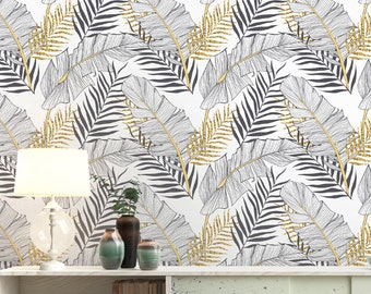 Tropical Gold Leaves Wallpaper