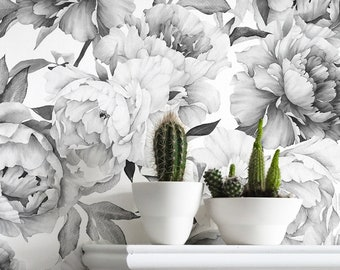 Black and White Peony Mural