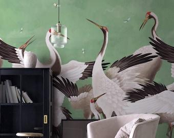 Heron Print Wallpaper, Removable Peel and Stick Mural, Japanese Chinoiserie Inspired Crane Wallpaper, Temporary Self Adhesive Herons
