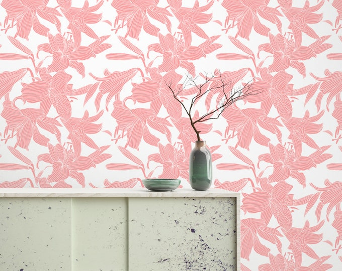 Pink Lily Flower Pattern Wallpaper - Removable Wallpaper - Pink Lily Poppy Flower Wallpaper - Exotic Wall Sticker - Tropical Wallpaper