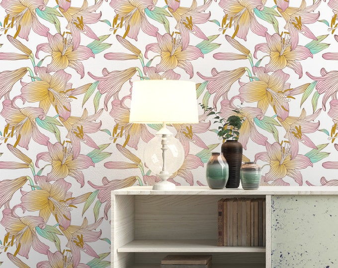 Colorful Lily Flower Pattern Wallpaper - Removable Wallpaper - Lily Poppy Flower Wallpaper - Exotic Wall Sticker - Tropical Wallpaper