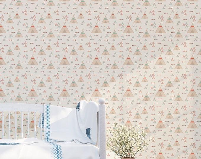 Tribal Tepee Pattern Wallpaper - Removable Kids Wallpaper - Childrens and toddler Wallpaper - Nursery Wall Sticker - Native Wallpaper