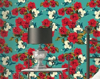 Rose Flowers Pattern Wallpaper - Removable Wallpaper - Vintage Red Rose Flower Wallpaper - Exotic Wall Sticker - Tropical Wallpaper