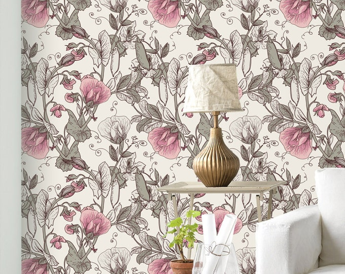 Blooming Flowers and Peas Pattern Wallpaper - Removable Wallpaper - Pink Poppy Flower Wallpaper - Exotic Wall Sticker - Tropical Wallpaper