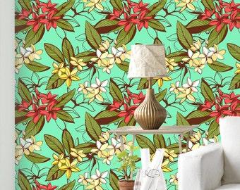 Exotic Flower Wallpaper - Removable Wallpaper - Tropical Plants and Flower Wallpaper - Exotic Wall Sticker - Tropical Wallpaper