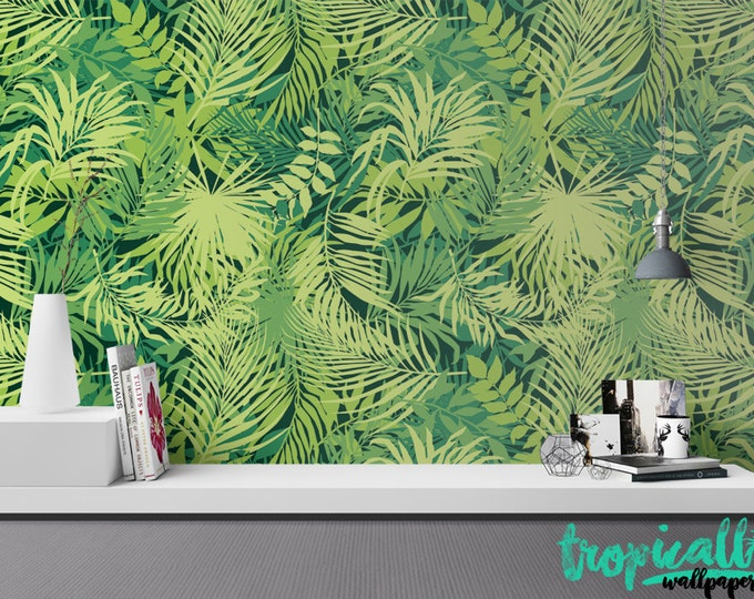 Jungle Leaves Wallpaper - Removable Wallpapers - Monstera Palm Wallpaper - Self Adhesive Wall Decal - Temporary Peel and Stick Wall Art