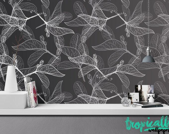 monochrome Flower Pattern Wallpaper - Removable Wallpaper - Black and White Flower Wallpaper - Exotic Wall Sticker - Tropical Wallpaper
