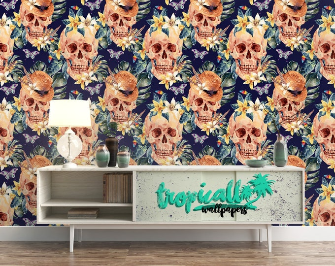 Skull and flowers Wallpaper - Removable Wallpapers - Floral Boho Wallpaper - Self Adhesive Wall Decal - Temporary Peel and Stick Wall Art