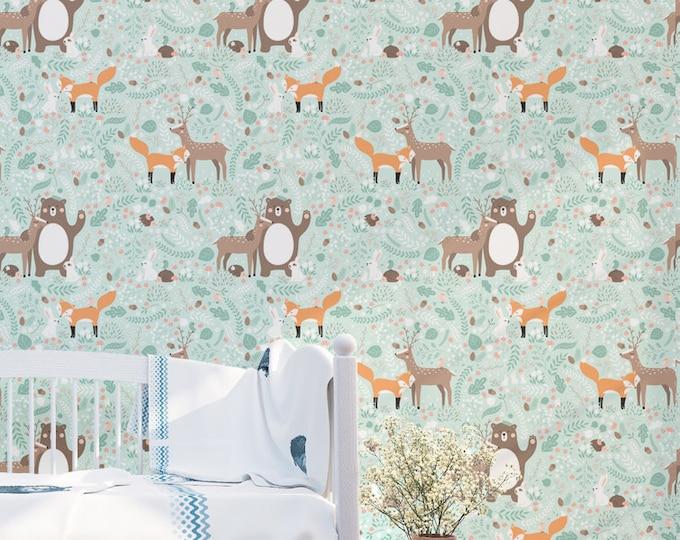 Forest Friends Pattern Wallpaper - Removable Kids Wallpaper - Childrens and toddler Wallpaper - Nursery Wall Sticker - Bear and Dear Friends