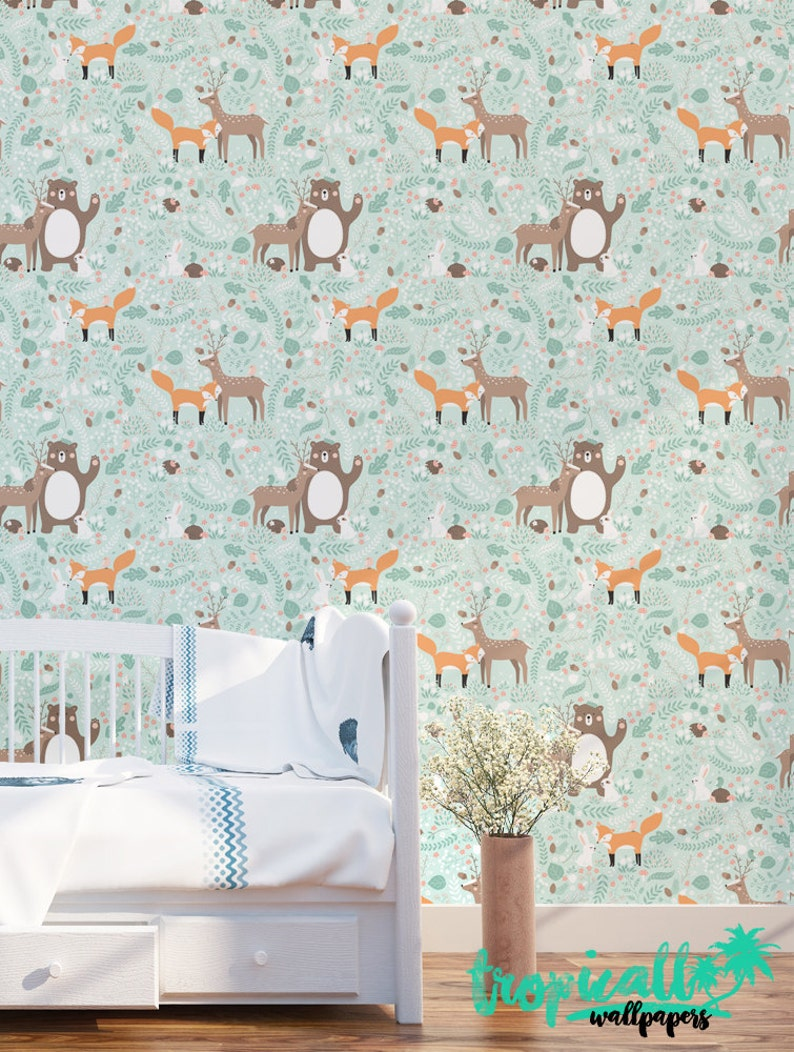 Forest Friends Pattern Wallpaper ...