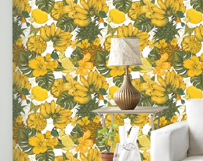 Banana Fruit Wallpaper - Removable Wallpapers - Floral Bird Print Wallpaper - Self Adhesive Wall Decal - Temporary Peel and Stick Wall Art