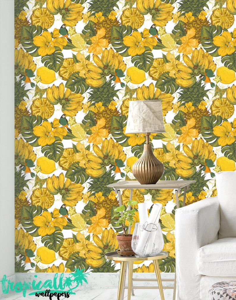 Yellow Fruit Wallpaper Removable Wallpapers Floral Bird Etsy