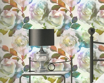 Rose Pattern Wallpaper - Removable Wallpaper - Vintage Colorful Rose Flowers Wallpaper - Exotic Wall Sticker - Tropical Wallpaper