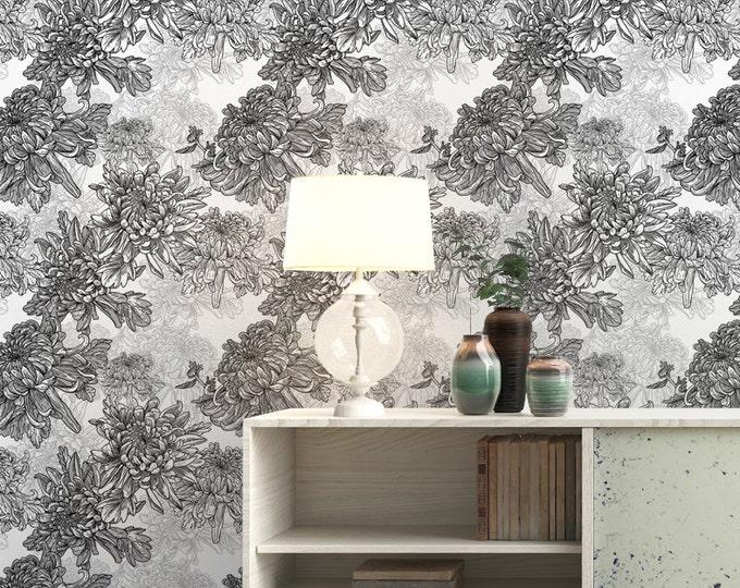 Poppy Flower Pattern Wallpaper - Removable Wallpaper - Black and White Poppy Flower Wallpaper - Exotic Wall Sticker - Tropical Wallpaper