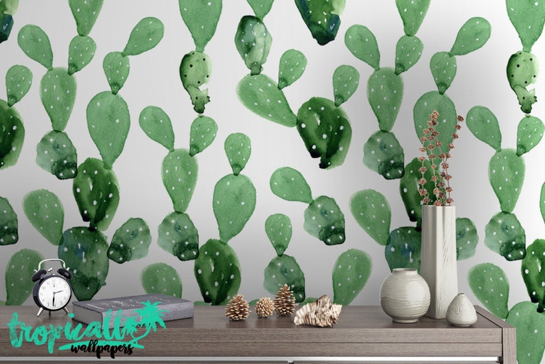 Floral Wallpaper Temporary Peel and Stick Wall Art Self Adhesive Wall Decal Removable Wallpapers Watercolor Cactus Print Wallpaper