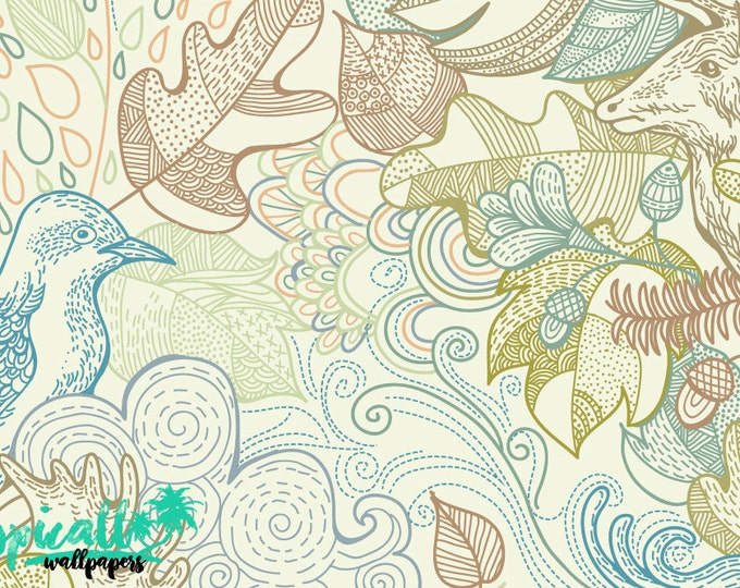 Forest Animals Pattern Wallpaper - Removable Wallpaper - Forest Animals and Plants Flamingo Wallpaper - Exotic Wall Sticker -  Forest Plants