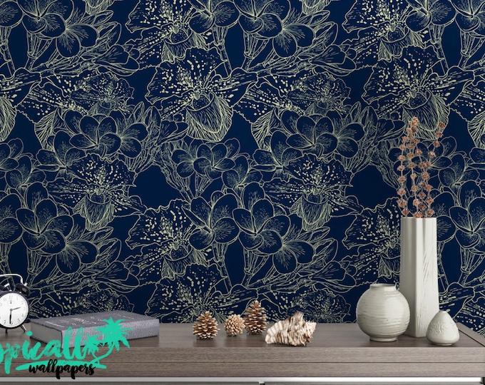 Poppy Flower Pattern Wallpaper - Removable Wallpaper - Blue and White Poppy Flower Wallpaper - Exotic Wall Sticker - Tropical Wallpaper