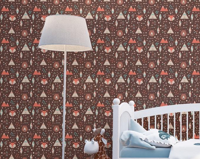 Tribal Fox and Tepee Pattern Wallpaper - Removable Kids Wallpaper - Children and toddler Wallpaper - Nursery Wall Sticker - Native Wallpaper